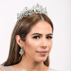 Bridal Tiara & Earrings (Silver with Crystals)