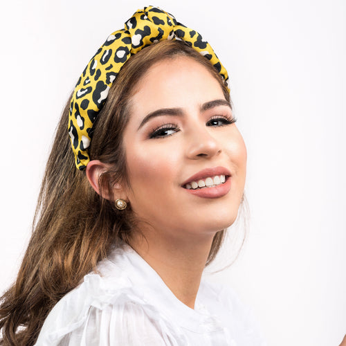Leopard Printed Silk Headband (Yellow & Black)