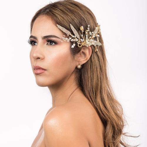 Bridal Head Piece (Gold Color with white Crystals)