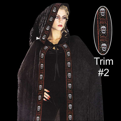 Sheer crinkle cape with skulls and roses