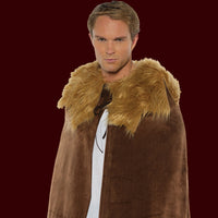 Brown cape with faux fur shawl