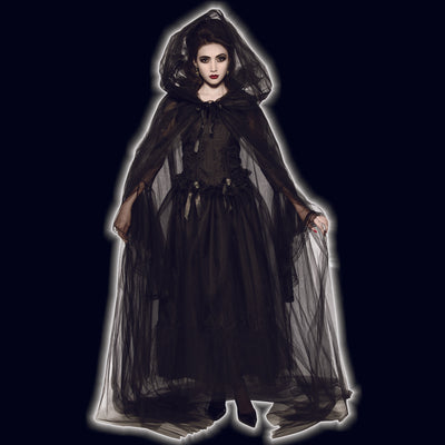 Black tulle hooded cape