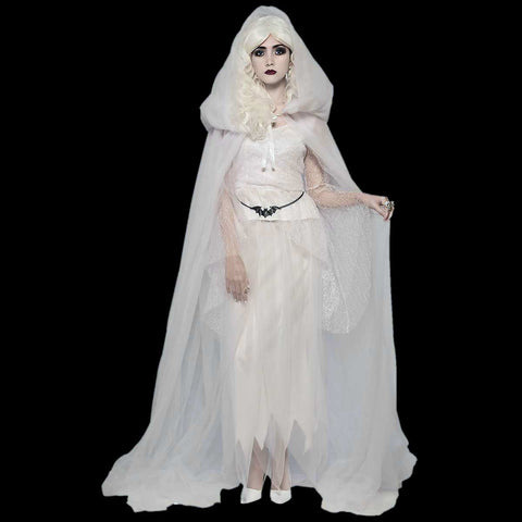 White tulle hooded cape