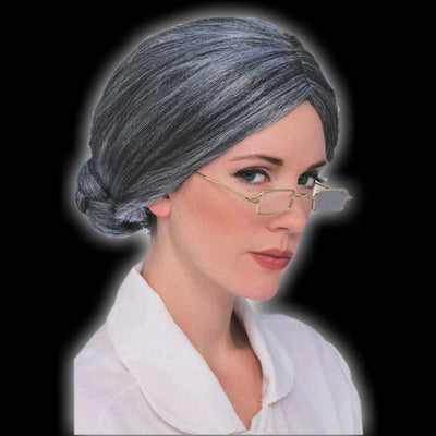Old woman grey bun wig