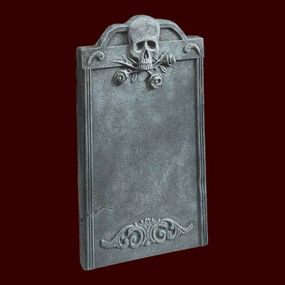 skull and rose halloween tombstone prop