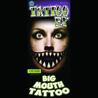 big mouth pointed teeth temporary tattoo