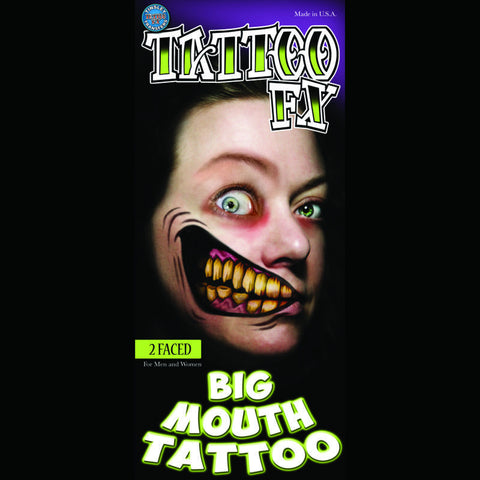 2 Faced big mouth costume tattoo