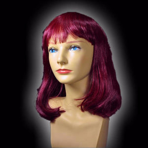 Medium Burgundy Wig with Bangs