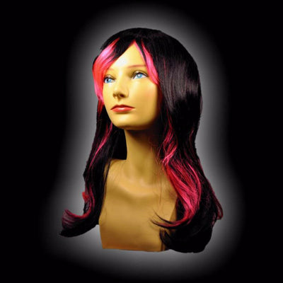 black and hot pink vampire wig
