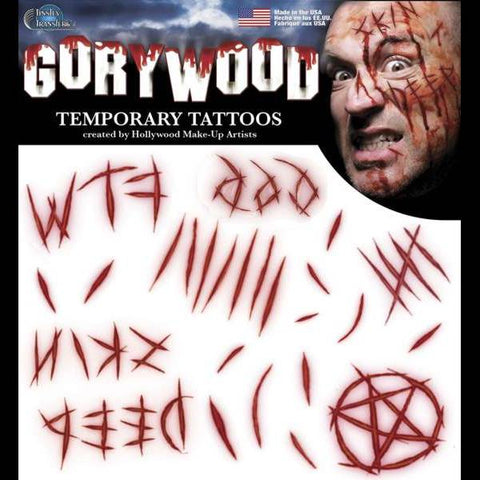 Cuts self mutilation FX tattoos makeup