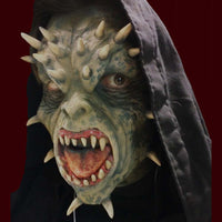 Demon creature latex costume mask with horns and teeth