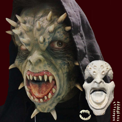 Demon face with spikes prosthetic appliance mask