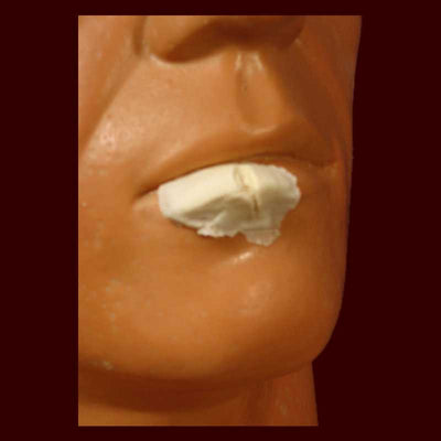 split cut lip halloween makeup prosthetic appliance