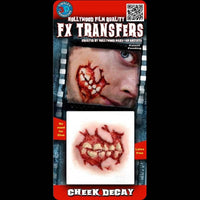 Exposed teeth ripped cheek 3D zombie transfer makeup