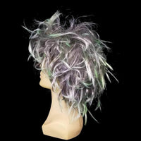 Grey and green messy wig
