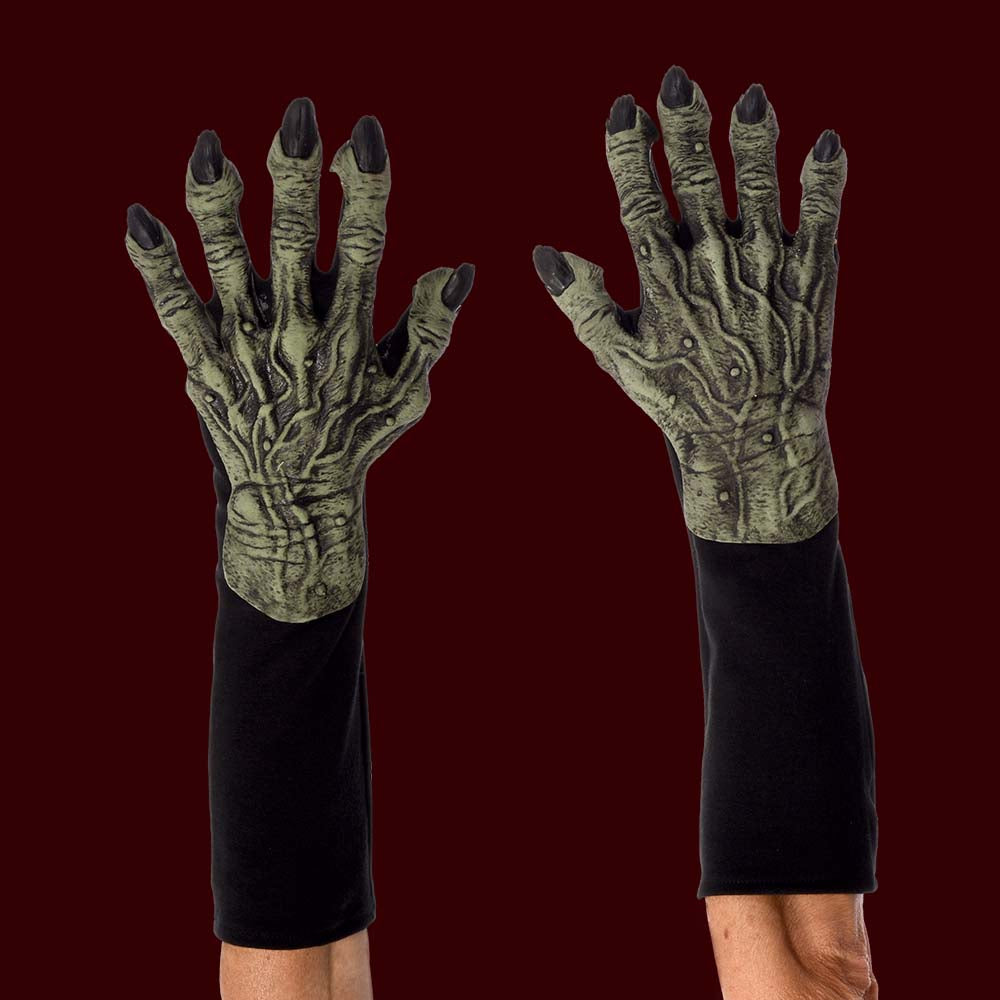 Green witch monster costume gloves