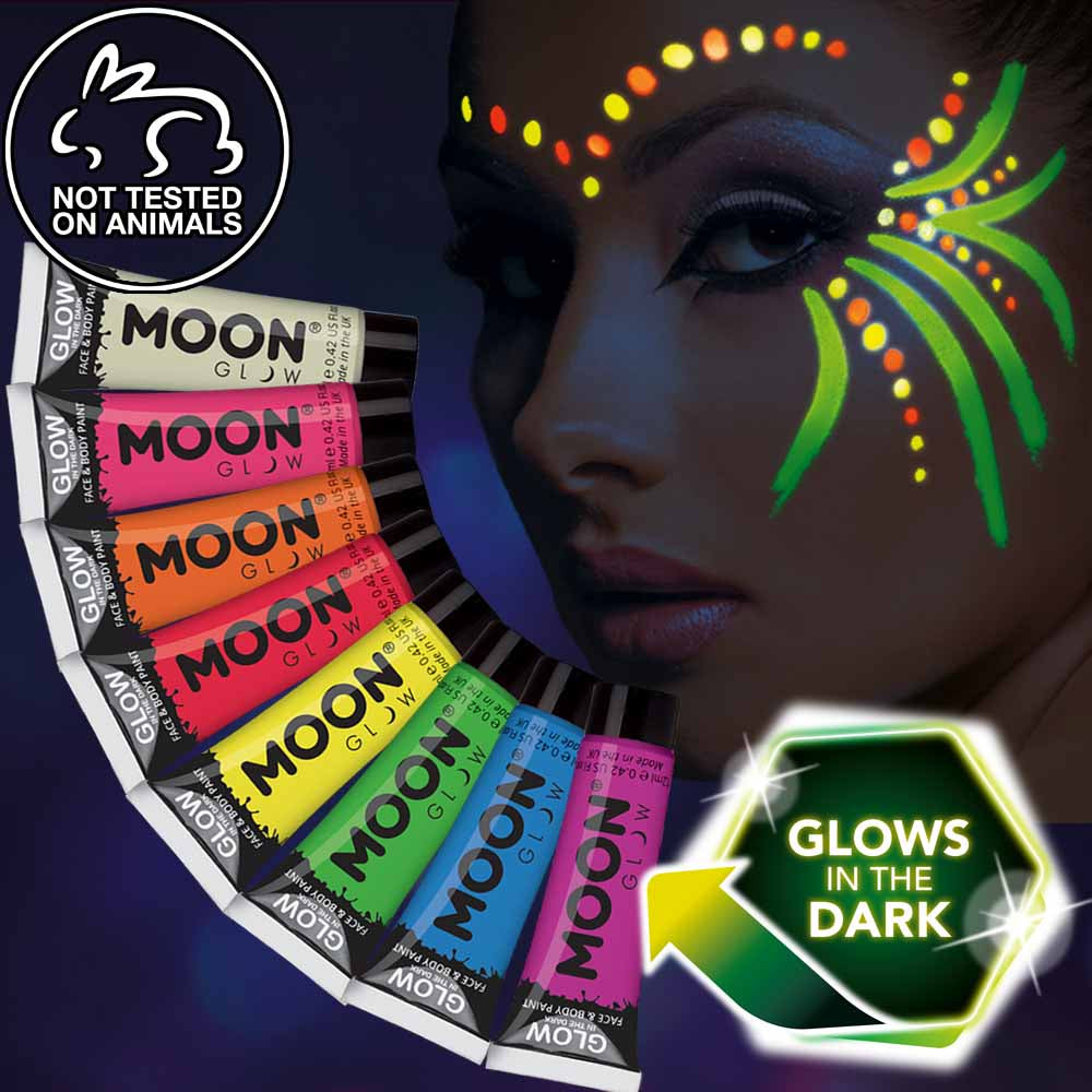 Glow in the dark face and body makeup