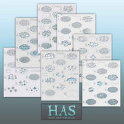 11 stencil collection sheets
