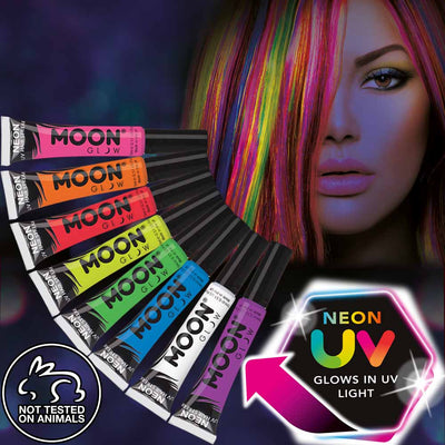 Neon black light hair streak makeup
