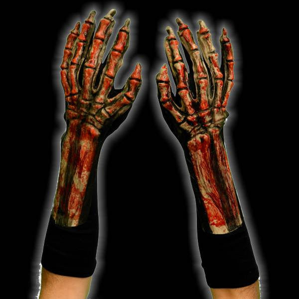 Bloody Skeleton Costume Gloves