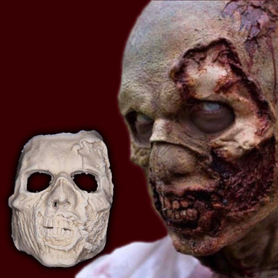 Foam latex zombie mask with partially ripped off face