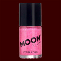 Hot pink Neon UV glitter nail polish