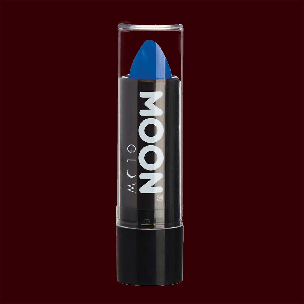 Blue neon UV black light lipstick