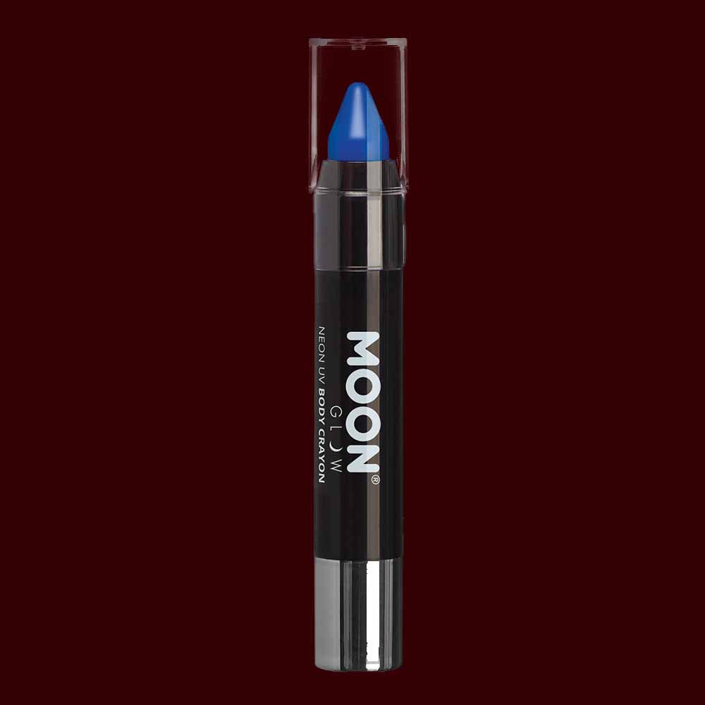 Blue neon UV body makeup crayons