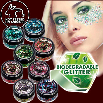 Biodegradable chunky cosmetic glitter