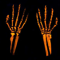 UV Reactive Orange Skeleton Gloves