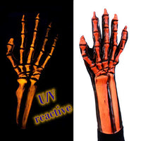 Orange uv blacklight skeleton gloves