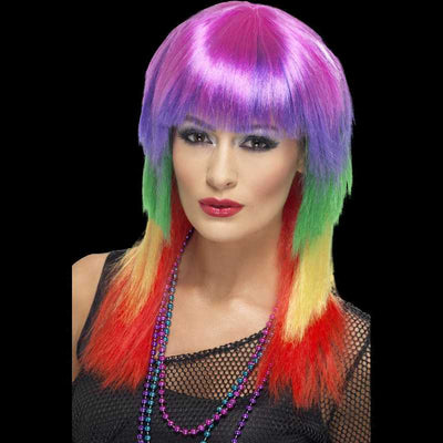 Rainbow multi colored wig