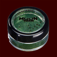 Green Halloween costume makeup glitter