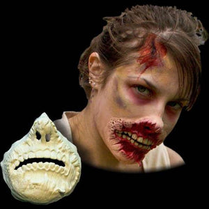 Zombie torn lips makeup prosthetic