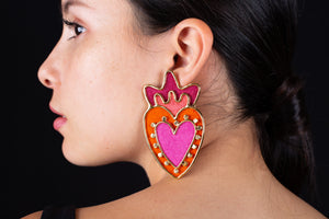 Corazón y Puntos earrings