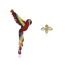 Load image into Gallery viewer, Guacamaya Kamsa and Solitaire filigree earrings
