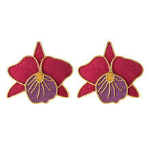 Load image into Gallery viewer, Orchids Cattleya Marsala earrings
