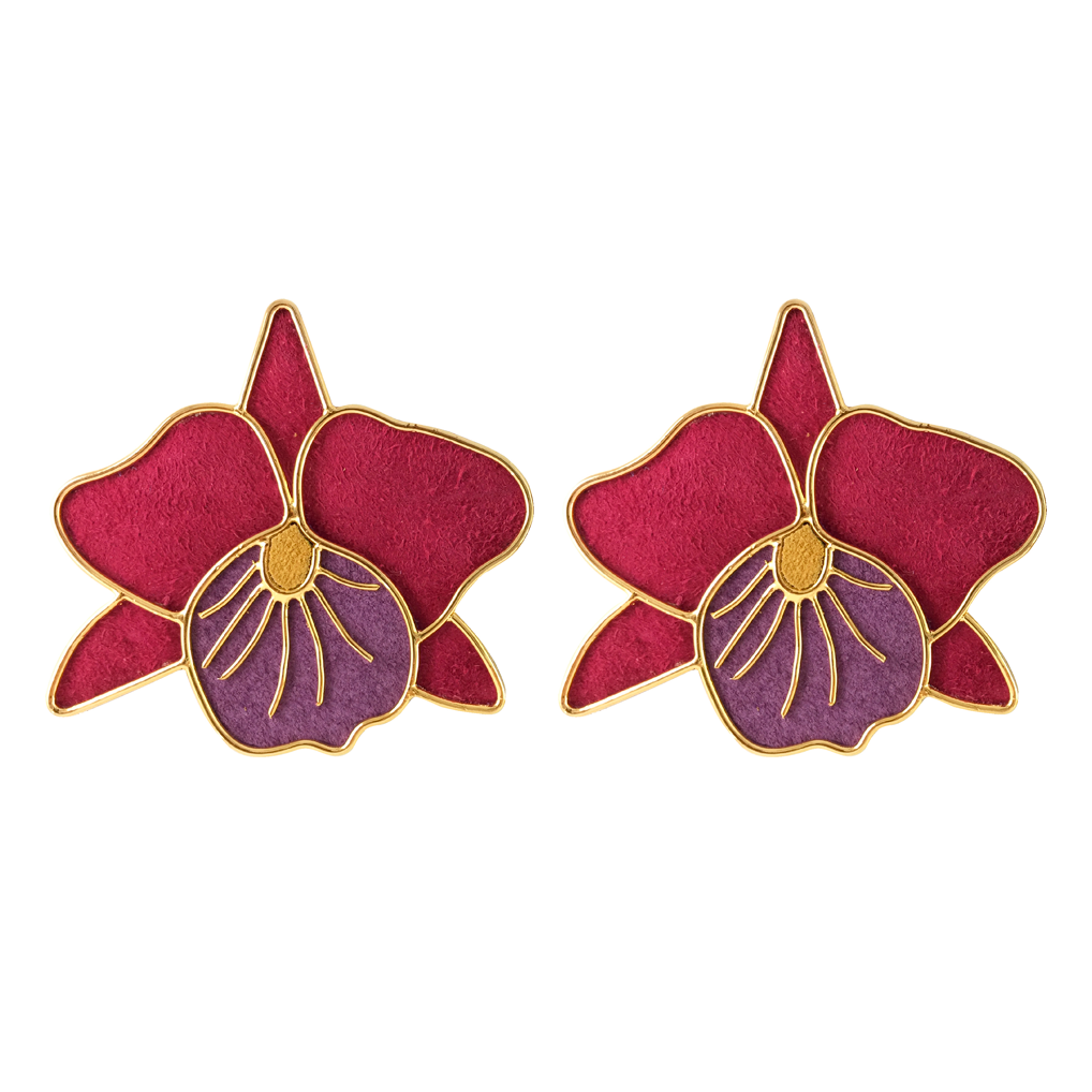 Orchids Cattleya Marsala earrings