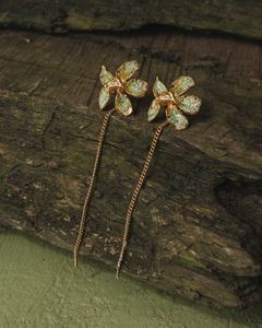 Radial Weed Leaf Earrings