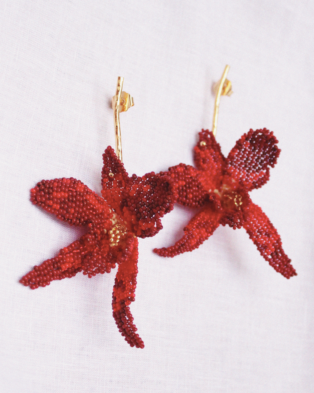 Red Orchids earrings