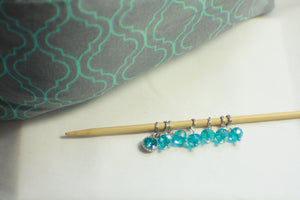 Blue Fleur - Knitting Project Bag - Bag and Stitch Markers SET