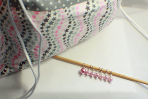 Lucky Stars - Knitting Project Bag - Bag and Stitch Markers SET