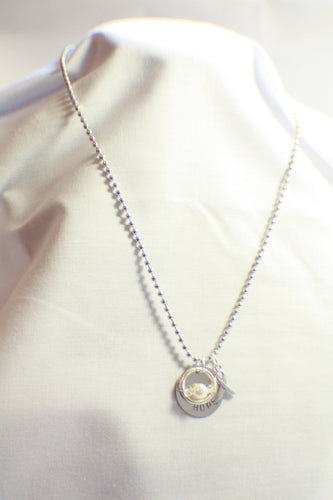 HOPE - Pearl Lung Cancer, Emphysema, Mesothelioma Hand-Stamped Awareness Necklace, Hope Jewelry