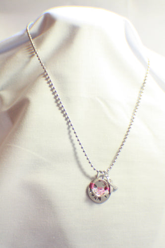 THINK PINK - Pink Breast Cancer - Hand-Stamped Awareness Necklace