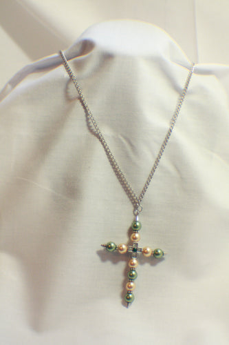 Pearl Beaded Cross Necklace - 28 inch Silver Necklace, 2 Colors