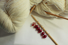Load image into Gallery viewer, Lady In Red - Glass Bead Knitting Stitch Markers