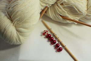Lady In Red - Glass Bead Knitting Stitch Markers