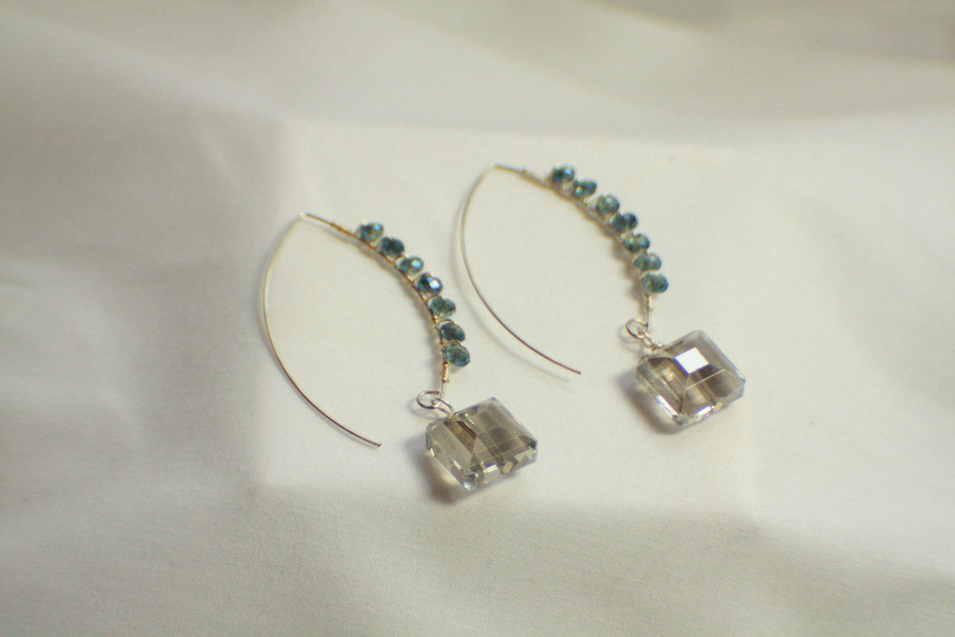 Wire Wrapped Decorative Threader Earrings - Smoky Grey