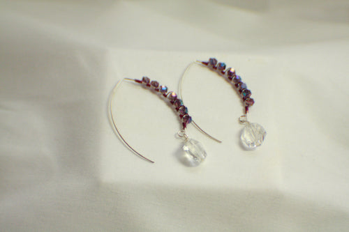 Wire Wrapped Decorative Threader Earrings - Crystal and Purple