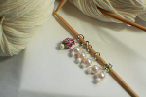 Ivory Glass Rose - Glass Pearl Knitting Stitch Markers